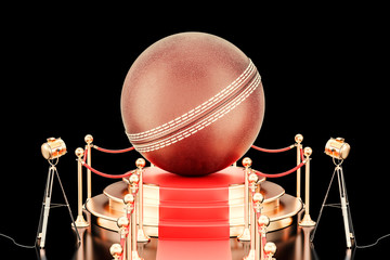 Podium with cricket ball, 3D rendering