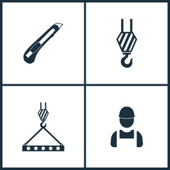 Vector Illustration Set Cinema Icons. Elements of Office Knife, Hook and Worker icon