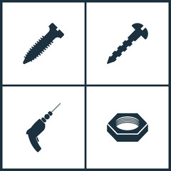 Vector Illustration Set Cinema Icons. Elements of Screw, Screw, Drill and Nut icon
