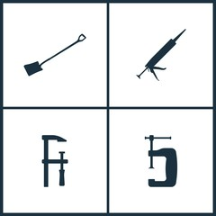 Vector Illustration Set Cinema Icons. Elements of Shovel, Silicone, Clamp and clamp icon