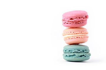 Photo sur Plexiglas Macarons Brightly Colored Stacked Up French Macarons on White