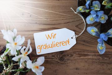 Sunny Flowers, Label, Wir Gratulieren Means Congratulations