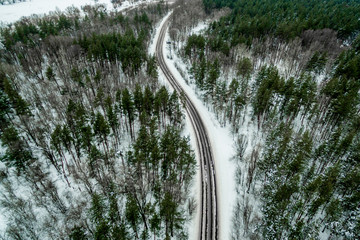 road through the winter pine forest. Road seen from the air. Aerial view landscape. shooting from a drone