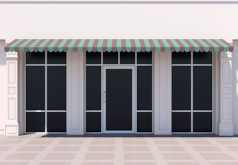 Classc shopfront in the sun - classic store front with awnings