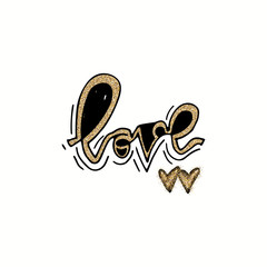 Love hand lettering romantic card with gold glitter hearts. Hand drawn lettering. Used for greeting card, banner, poster, congratulate. printing. Vector typography poster, romantic quote.