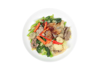 Isolated of Fried big noodle with chicken and vegetables.
