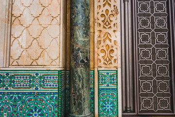 view of architectural shapes and patterns of Hassan II mosque - Casablanca - Morocco