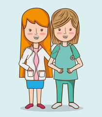professional women doctors with stethoscope and uniform