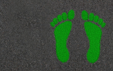 3d rendering bare foot print of grass overgrown with asphalt