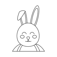 rabbit or bunny icon image vector illustration design  black line
