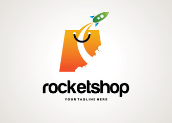 Rocket Shop Logo Template Design Vector, Emblem, Design Concept, Creative Symbol