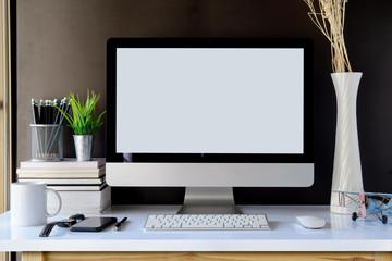 Workspace with mockup desktop computer.