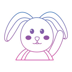 rabbit or bunny icon image vector illustration design  blue to purple line