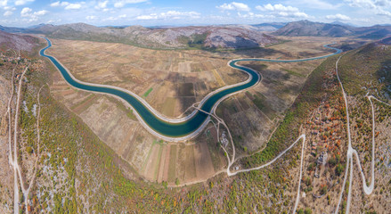 Panoramic aerial view to the valley and the Trebishnica river in the Bosnia and Hercegovina mountains.