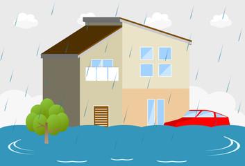洪水 住宅