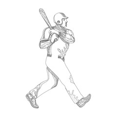 Baseball Player Batting Doodle