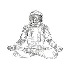 Astronaut Lotus Position Mandala