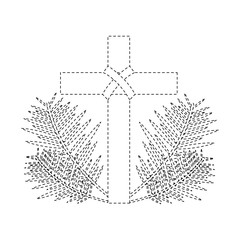cross with leaves christian catholic paraphernalia  icon image vector illustration design  black dotted line