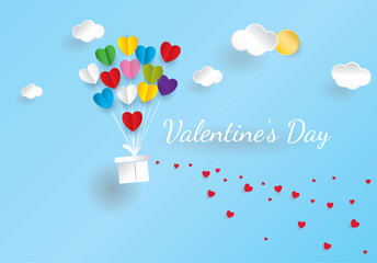 Happy valentine`s day and  heart on background. Vector illustration