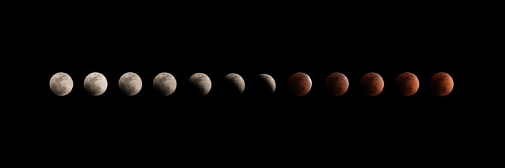 different phases of total lunar eclipse on dark sky