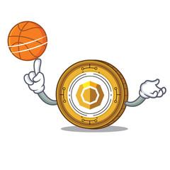 With basketball komodo coin character cartoon