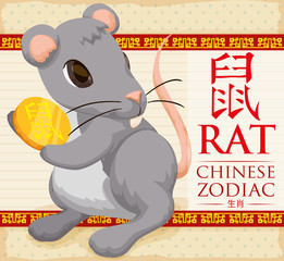 Chinese Zodiac Animal: Cute Rat with a Golden Coin, Vector Illustration