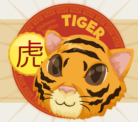 Cute Head of a Tiger with Label for Chinese Zodiac, Vector Illustration
