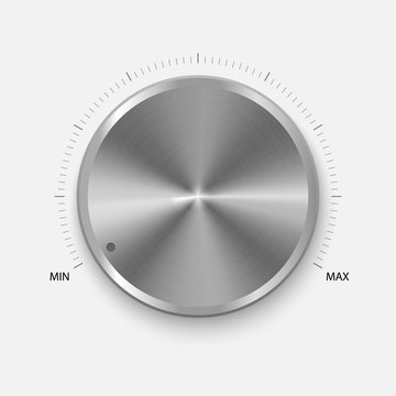Dial Knob. Realistic Button With Circular Processing. Volume settings, sound control