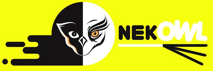 Design cat & owl Sticker, banner, logo