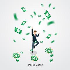 businessman happy with money rain