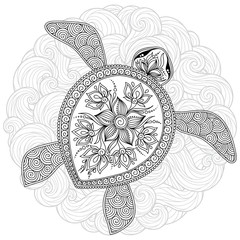Vector illustration of sea turtle for Coloring book pages