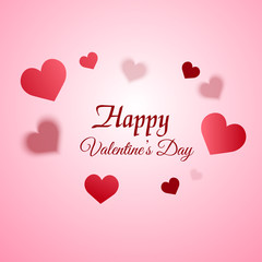 Valentine's day greeting card with blurred  hearts on pink background. Vector