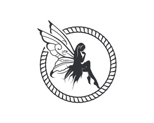 Flying Beautiful Fairy with Wings and Classic Circle like Rope  Illustration Silhouette Symbol Logo Vector