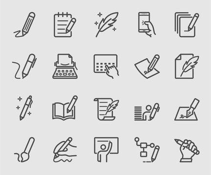 Writing, Signature, Note line icon set