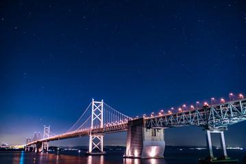 星が見える瀬戸大橋の夜景