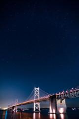 星が見える瀬戸大橋の夜景 縦