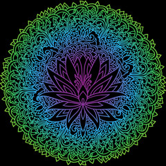 Abstract mandala ornament. Asian pattern. Gradient authentic vector illustration on black background.