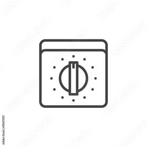 Kitchen Oven Knob With Timer Line Icon Outline Vector Sign Linear