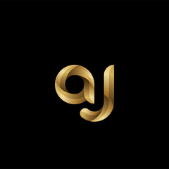 Initial lowercase letter aj, swirl curve rounded logo, elegant golden color on black background