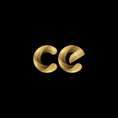 Initial lowercase letter ce, swirl curve rounded logo, elegant golden color on black background