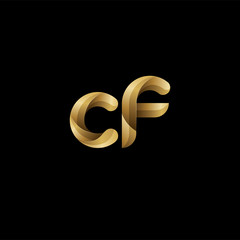 Initial lowercase letter cf, swirl curve rounded logo, elegant golden color on black background