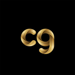 Initial lowercase letter cg, swirl curve rounded logo, elegant golden color on black background