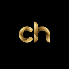 Initial lowercase letter ch, swirl curve rounded logo, elegant golden color on black background
