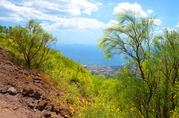 The view from the Vesuvius vulcano. Campania region, Italy.
