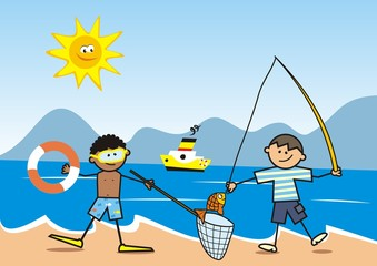 Happy kids, fisherman on the beach, vector funny illustration, postcard