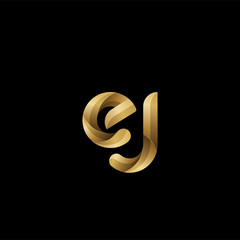Initial lowercase letter ej, swirl curve rounded logo, elegant golden color on black background