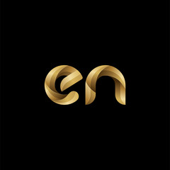 Initial lowercase letter en, swirl curve rounded logo, elegant golden color on black background