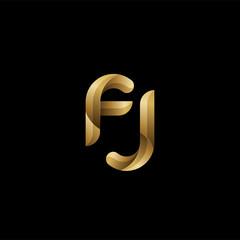 Initial lowercase letter fj, swirl curve rounded logo, elegant golden color on black background