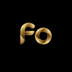 Initial lowercase letter fo, swirl curve rounded logo, elegant golden color on black background