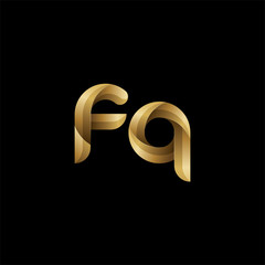 Initial lowercase letter fq, swirl curve rounded logo, elegant golden color on black background